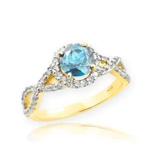 Gold Aquamarine Birthstone Infinity Ring with Diamonds