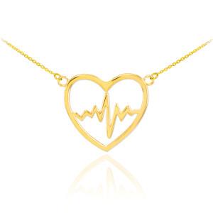 14k Gold Heartbeat Pulse Necklace