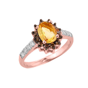 14k Rose Gold Citrine and Diamond Ladies Ring
