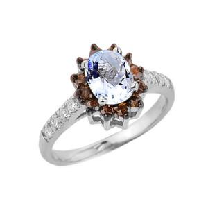 14k Rose Gold Blue Topaz and Diamond Ladies Ring