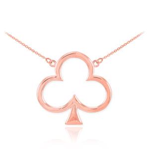14k Rose Gold Clover Shamrock Necklace