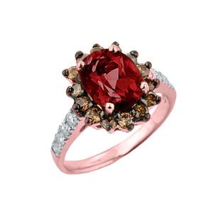 Rose Gold Garnet Birthstone and Diamond Proposal Ring