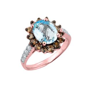 Rose Gold Aquamarine Birthstone and Diamond Proposal Ring