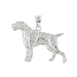 Solid White Gold German Pointer Pendant