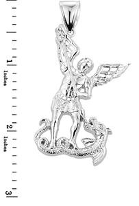Large Sterling Silver St. Michael vs Dragon Pendant