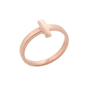 Rose Gold Sideways Cross Knuckle Ring