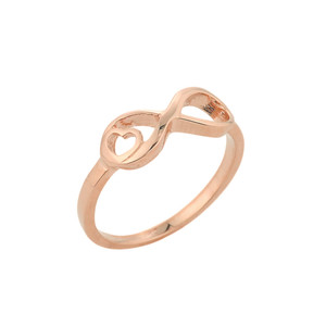 Rose Gold Infinity with Heart Ring