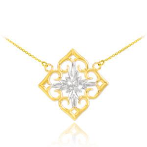 14k Two-Tone Gold Diamond Cut Flower Necklace