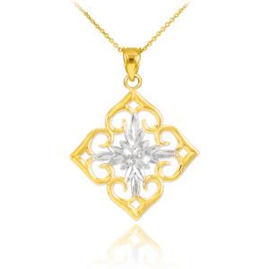 14k Two-Tone Gold Diamond Cut Flower Pendant Necklace