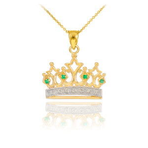 Gold Emerald Crown Pendant Necklace with Diamonds