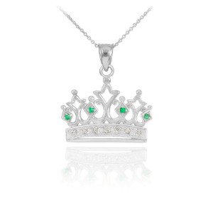 White Gold Emerald Crown Necklace with Diamonds