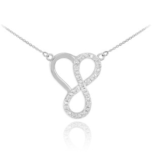 14k White Gold Infinity Heart Necklace with Diamonds