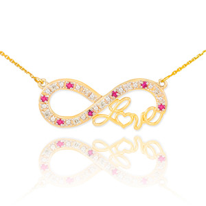 """14k Gold Ruby Infinity """"Love"""" Script Necklace with Diamonds"""