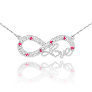 """14k White Gold Ruby Infinity """"Love"""" Script Necklace with Diamonds"""