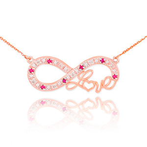 """14k Rose Gold Ruby Infinity """"Love"""" Script Necklace with Diamonds"""