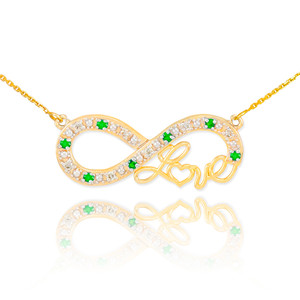 """14k Gold Emerald Infinity """"Love"""" Script Necklace with Diamonds"""