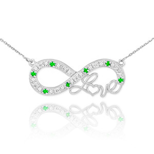 """14k White Gold Emerald Infinity """"Love"""" Script Necklace with Diamonds"""