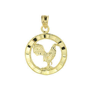 Gold Rooster Charm Pendant
