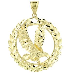 Gold Eagle in Wreath Pendant