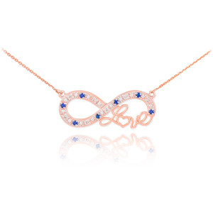 """14k Rose Gold Sapphire Infinity """"Love"""" Script Necklace with Diamonds"""