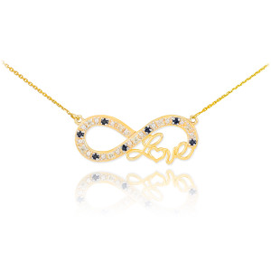 """14k Gold Infinity """"Love"""" Script Necklace with Black and Clear Diamonds"""