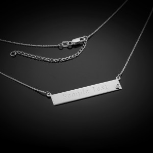 14k White Gold Engravable Name Bar Necklace with Diamond