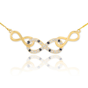 14k Gold Triple Infinity Necklace with Clear and Black Diamonds