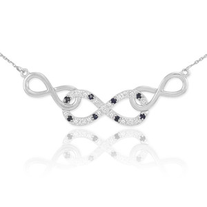 14k White Gold Triple Infinity Necklace with Clear and Black Diamonds