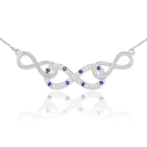 14k White Gold Sapphire Triple Infinity Necklace with Diamonds