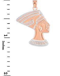 Two-Tone Rose Gold Queen Nefertiti Pendant Necklace