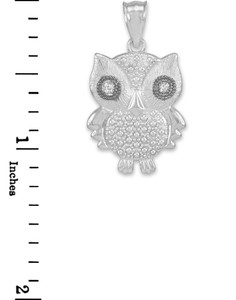 White Gold Owl Pendant Necklace with Diamonds