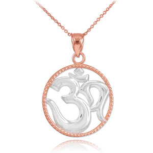 Two-Tone Rose Gold Om Symbol Charm Pendant Necklace