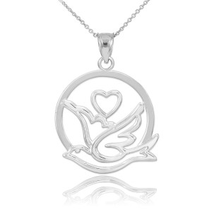 White Gold Dove with Heart Pendant Necklace
