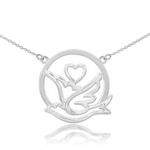 14k White Gold Dove with Heart Necklace