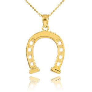 Gold Horseshoe Pendant Necklace
