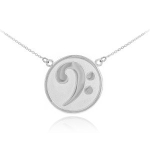 14k Solid White Gold Textured Bass F-Clef Charm Necklace