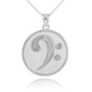 Solid White Gold Textured Bass F-Clef Pendant Necklace