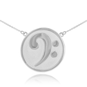 Sterling Silver Textured Bass F-Clef Necklace