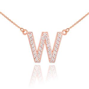 "14k Rose Gold Letter ""W"" Diamond Initial Monogram Necklace"