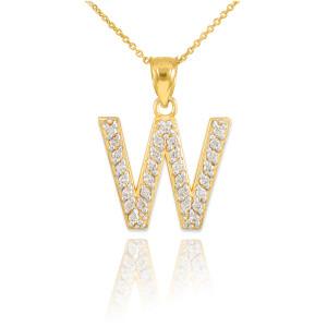 "Gold Letter ""W"" Initial Diamond Monogram Pendant Necklace"