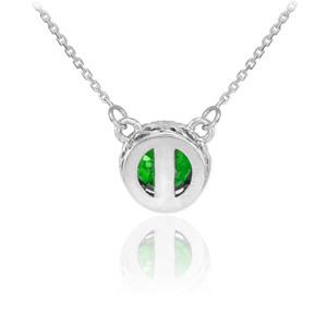 14k White Gold Diamond Emerald Necklace