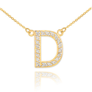 "14k Gold Letter ""D"" Diamond Initial Necklace"