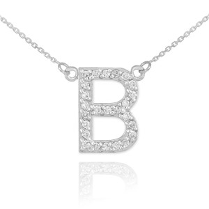 """14k White Gold Letter """"B"""" Diamond Initial Necklace"""