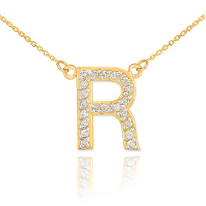 "14k Gold Letter ""R"" Diamond Initial Necklace"