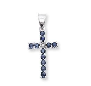 White Gold Sapphire Diamond Cross Pendant