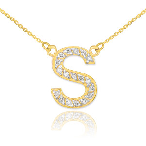 """14k Gold Letter """"S"""" Diamond Initial Necklace"""