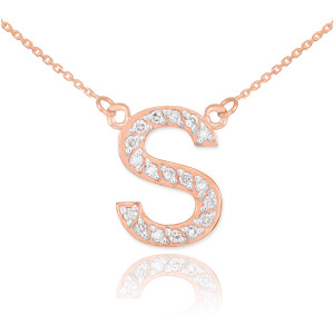 """14k Rose Gold Letter """"S"""" Diamond Initial Necklace"""