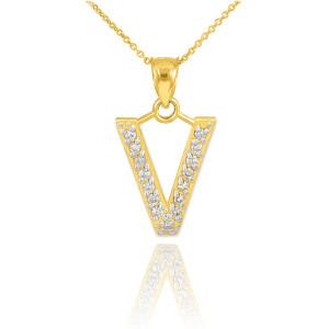 "Gold Letter ""V"" Diamond Initial Pendant Necklace"