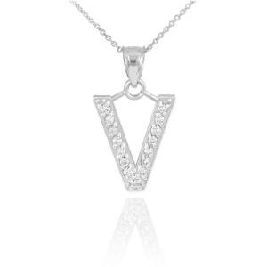 "White Gold Letter ""V"" Diamond Initial Pendant Necklace"