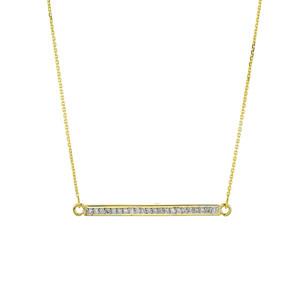 14k Gold Diamond Bar Necklace